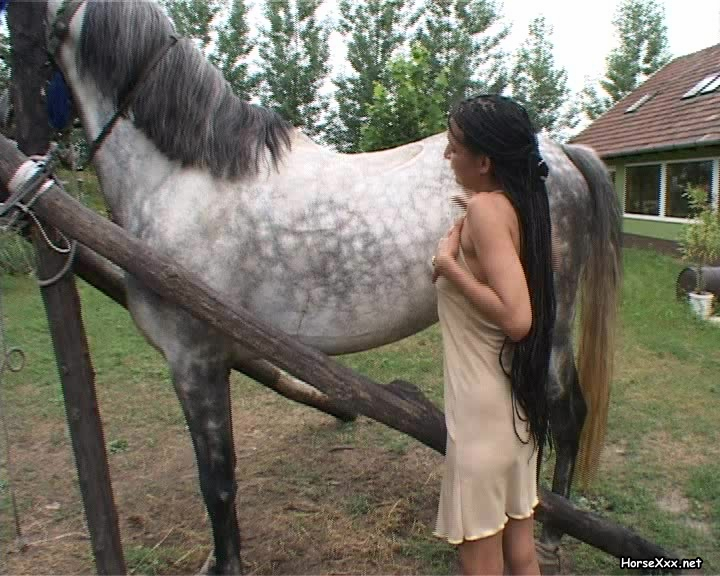 horny cowbaby loving every second this big horse dick is inside her